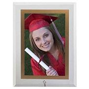 Porta retrato de vidro vert filete dourado 15x20 cm