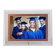 Porta retrato de vidro horiz filete rose 13x18 cm