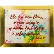 Porta certificado de madeira dourado 21,2x29,9 cm
