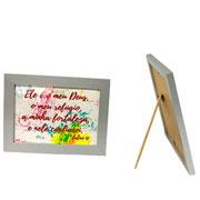Porta certificado de madeira prata 21,2x29,9 cm