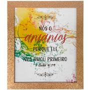 Porta retrato em madeira Dourado Glitter 20x25 cm