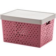Cesto organizador com tampa rose quadratta 39x29x24 cm