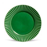 Prato de cerâmica raso plisse verde salvia 26 cm