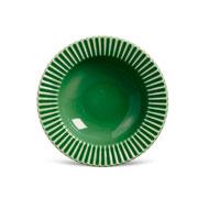 Prato de cerâmica fundo plisse verde salvia 22 cm