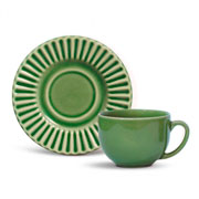 Xícara de chá plisse com pires verde salvia 100 ml