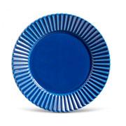 Prato de cerâmica raso plisse azul 26 cm