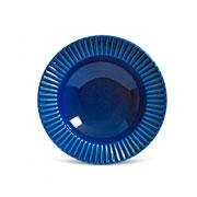Prato de cerâmica fundo plisse azul 22 cm