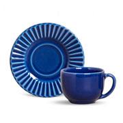 Xícara de chá plisse com pires azul 100 ml