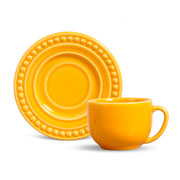 Xícara de chá atenas com pires mostarda 100 ml
