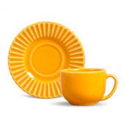 Xícara de chá plisse com pires mostarda 100 ml