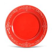 Prato de cerâmica raso acanthus vermelho 26 cm
