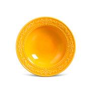 Prato de cerâmica fundo acanthus mostarda 22 cm