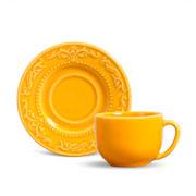 Xícara de chá acanthus com pires mostarda 100 ml