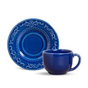 Xícara de chá acanthus com pires azul 100 ml