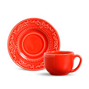 Xícara de chá acanthus com pires vermelho 100 ml