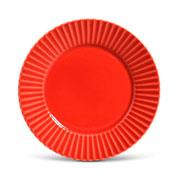 Prato de cerâmica raso plisse vermelho 26 cm