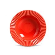 Prato de cerâmica fundo plisse vermelho 22 cm