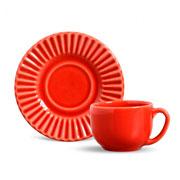 Xícara de chá plisse com pires vermelho 100 ml