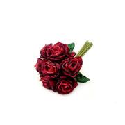 Buque de rosas vermelhas com botão artificial 26 cm