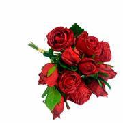 Buque de rosas vermelhas com botão artificial 36 cm