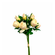 Buque de rosas creme com botão artificial 36 cm