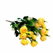 Buque mini artificial camelia amarela 31 cm