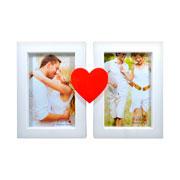 Porta retrato coração para 02 fotos 10x15 cm