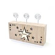 Porta retrato de madeira estrela com Led e aspiral