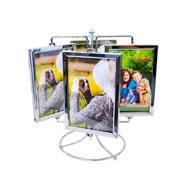 Porta retrato metal giratorio para 08 foto 10x15 cm