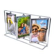 Porta retrato metal giratório triplo para 06 fotos 10x15 cm