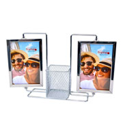 Porta retrato metal giratorio duplo para 04 foto 10x15 cm