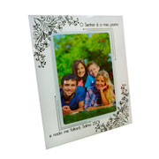Porta retrato de vidro salmos hibiscos 15x20cm