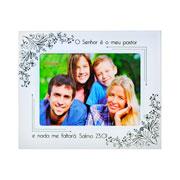Porta retrato de vidro salmos hibiscos 20x15cm