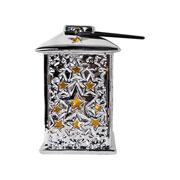 Enfeite cerâmica lamparina com led colors 13 cm
