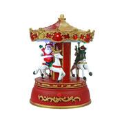 Enfeite Carrossel natalino musical 09 LEDS 13x13x20 cm