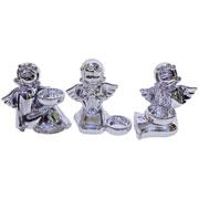Enfeite em cerâmica anjo castiçal colors 13 cm