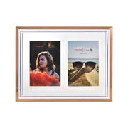 Porta retrato de plástico branco e cobre 02 fotos 10x15 cm
