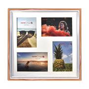Porta retrato de plástico branco e cobre 04 fotos 10x15 cm e 15x10 cm
