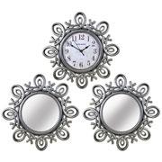 Relogio de parede com 2 espelhos sortidos 30 cm
