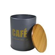 Porta mantimento lata cinza café 14 cm