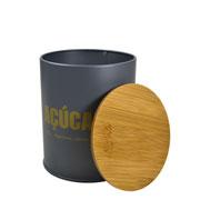 Porta mantimento lata cinza açucar 14 cm