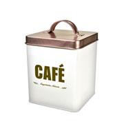 Porta mantimento lata quadrada café 14 cm