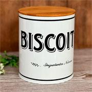 Porta mantimento lata branca biscoito 16 cm
