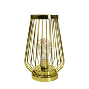 Luminaria aramada dourada 8 leds 21 cm