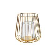 Castiçal de vidro com suporte em metal dourado 15x19 cm