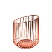 Castiçal de vidro com suporte em metal rose 18 cm