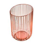 Castiçal de vidro com suporte em metal rose 23 cm