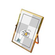 Porta retrato de ferro liso dourado 10x15 cm