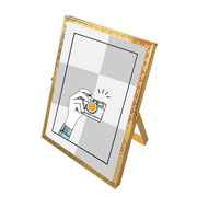 Porta retrato de ferro Renda dourado 13x18 cm