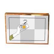Porta retrato de ferro liso/base 02 fotos 20x15 cm